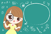 cute cartoon girl student take magnifying wtih blackboard
