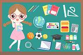 cute cartoon girl student wear glasses with blackboard