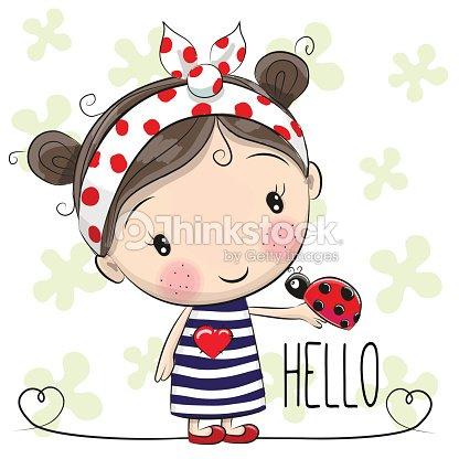Jolie Fille Dessin Anime Clipart Vectoriel Thinkstock