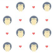 cute cartoon hedgehog seamless vector pattern background illustration