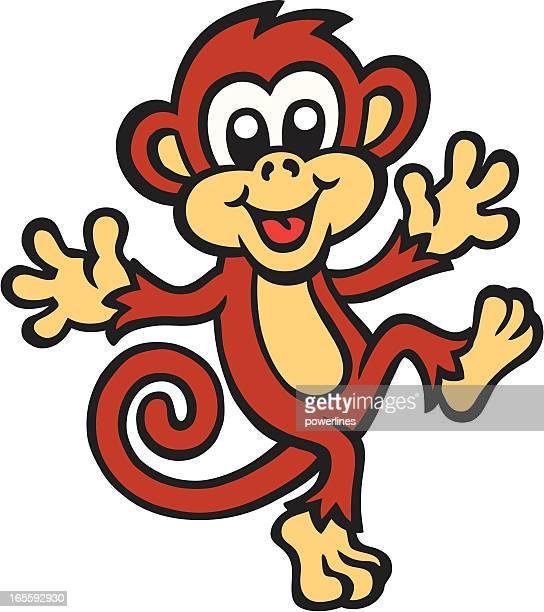 Cute cartoon image of a monkey dancing