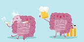 cute cartoon intestine with cigarette and beer