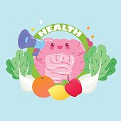 cute cartoon intestine take microphone with health concept