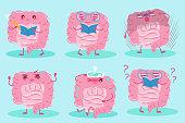 cute cartoon intestine on the blue background