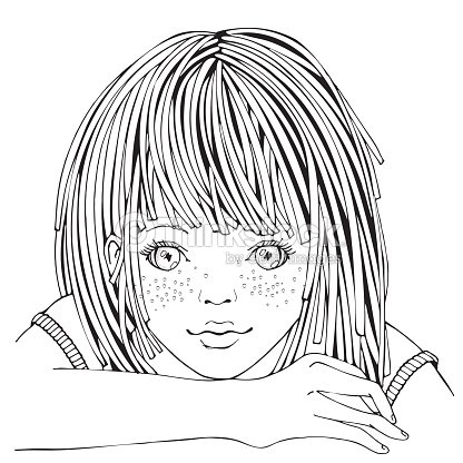 Cute Dibujos Animados Niña Página De Libro Para Colorear Para Niños ...