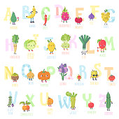 Cute cartoon live fruits and vegetables vector alphabet. Funny characters in nice colors. Part two.