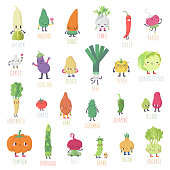 Cute cartoon live vegetables big vector set. Funny characters in nice colors.