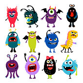 Cute cartoon colorful mosters with different emotions collection, vector illustration
