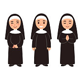 Cute cartoon nun drawing set, smiling and praying. Simple vector illustration.