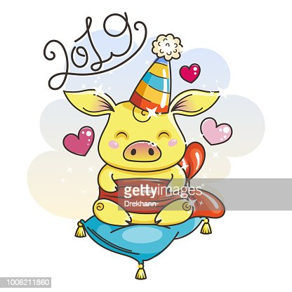 Cute Cartoon Pig In Love Symbol Of New 2019 Year Vector Art Thinkstock