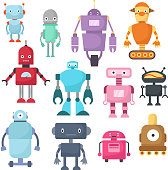 Cute cartoon robots, android and spaceman cyborg isolated vector set. Robot characters illustration