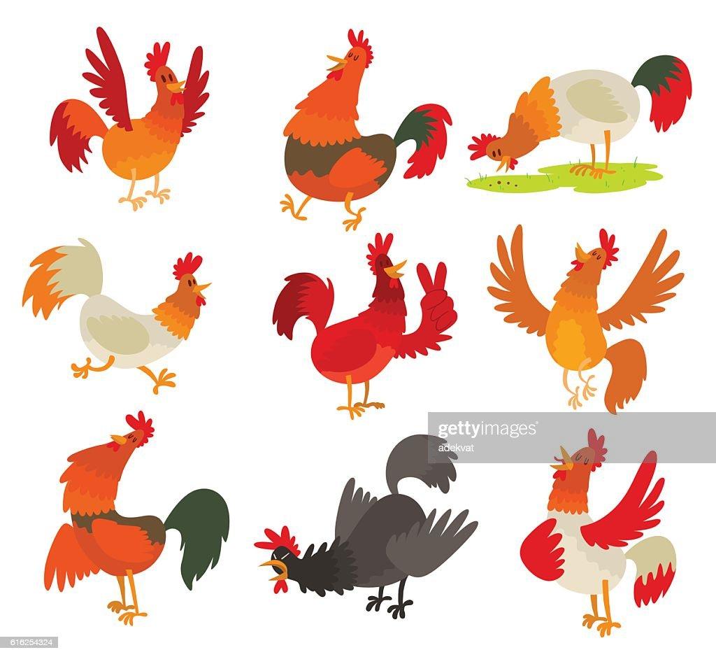 Cute cartoon rooster cock character vector : Arte vetorial