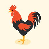 Cute cartoon rooster vector illustration. Cartoon rooster isolated on background. Rooster, cock farm bird. Vector cock farm animal. Cute rooster vector illustration. Rooster farm animal vector.