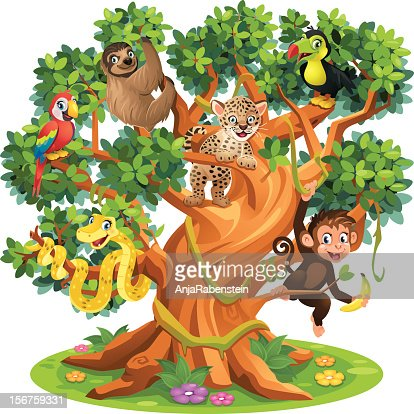 Cute Cartoon Snake, Monkey, Jaguar and birds in Jungle Tree : Vector Art