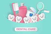 cute cartoon tooth with dental care concept on the green background