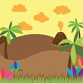Cute Cartoon Vector Background of Desert, Jungle or Dinosaur Era Landscape. No transparencies or gradients used. Large JPG included. Each element is individually grouped for easy editing.