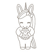 cute cartoon vector black and white easter unicorn with egg holiday illustration for coloring art