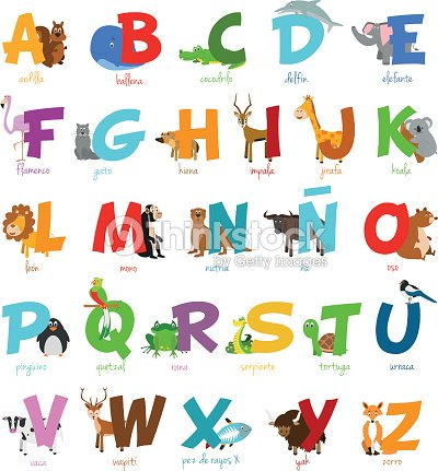 zoo de dessin anim mignon alphabet illustr avec dr les animaux alphabet espagnol clipart. Black Bedroom Furniture Sets. Home Design Ideas