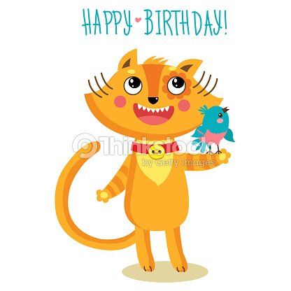 Cute Cat Character Greetings Card Funny Birthday Greeting Card