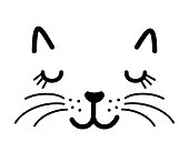 Cute cat face vector illustration isolated