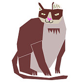 cute cat flat illustration on white. Lifestyle and everyday objects series.