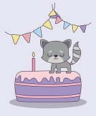 cute cat in cake of birthday vector illustration design