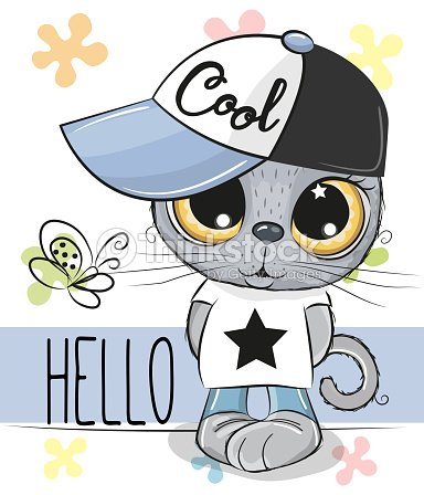 Cute Cat Isolated On A White Background Vector Art Thinkstock