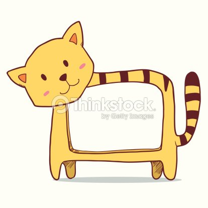 cute cat photo frame vector art