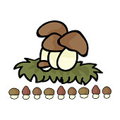 Cute ceps mushroom cartoon vector illustration motif set. Hand drawn edible porcini fungi elements clipart for wild food foraging blog, toadstool graphic, woodland web buttons with border.
