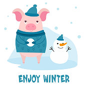 Cute character cartoon pig on winter background. Vector illustration with text for a card, postcard, banner.