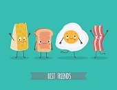 Cute characters cheese, bread, egg and bacon. Best friends set. Funny food. Cartoon vector  illustration. Cute stylish characters