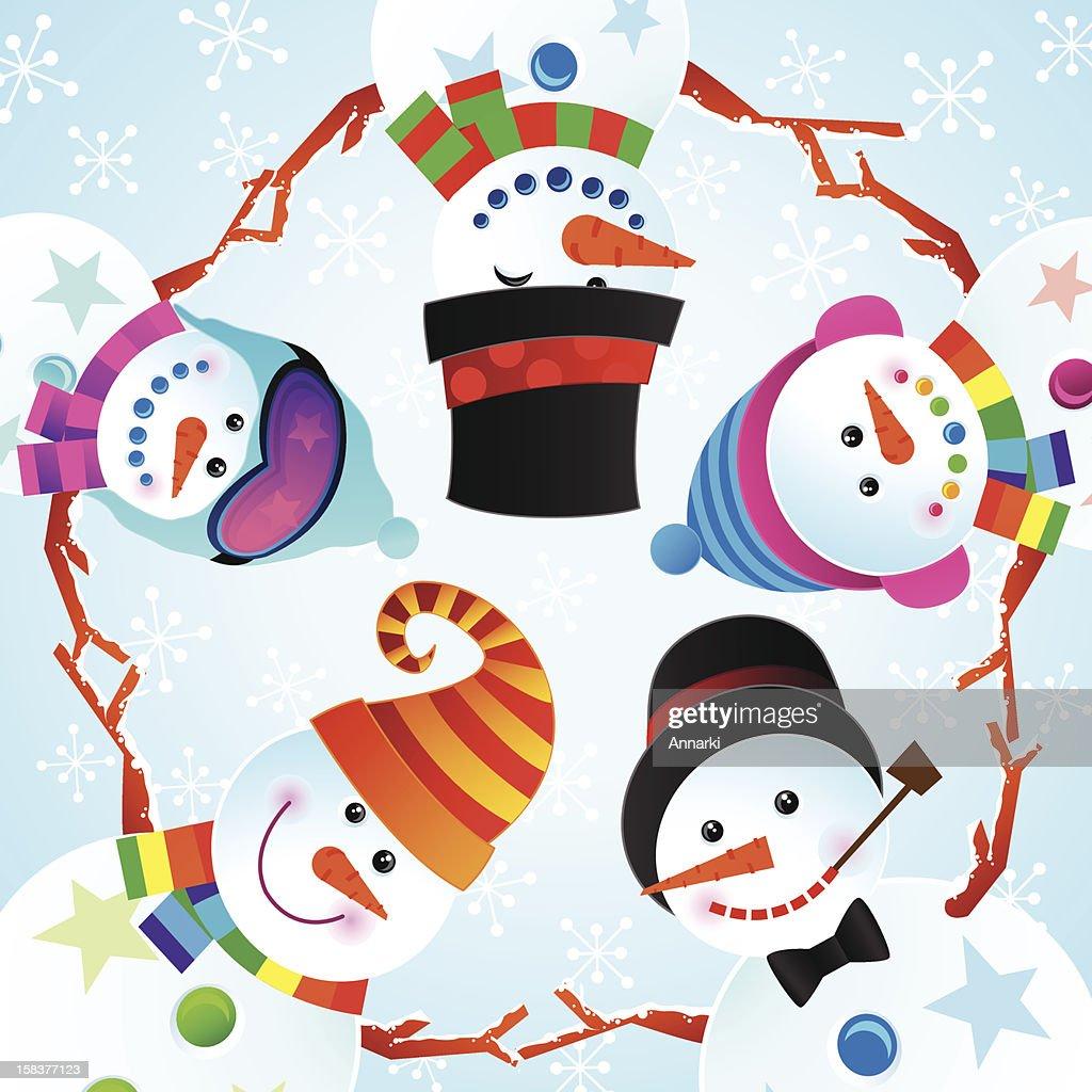 Cute Cheerful Snowman Winter Christmas Vector Illustration : Vector Art
