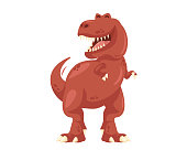 Ancient Cute Cheerful Tyrannosaurus Rex Illustration Character, Suitable for Children Product, Print, Logo, Game Asset, And Other Children Related Occasion.