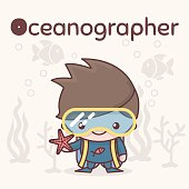 Cute chibi kawaii characters. Alphabet professions. Letter O - Oceanographer. Flat style