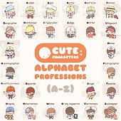 Cute chibi kawaii characters set. Alphabet professions. Letters A to Z. Flat cartoon style