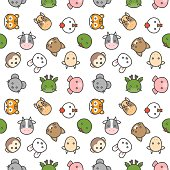 cute Chinese zodiac seamless pattern in filled outline icon style