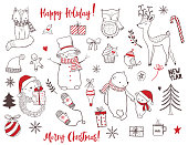 Cute christmas animals and elements set. Vector illustration