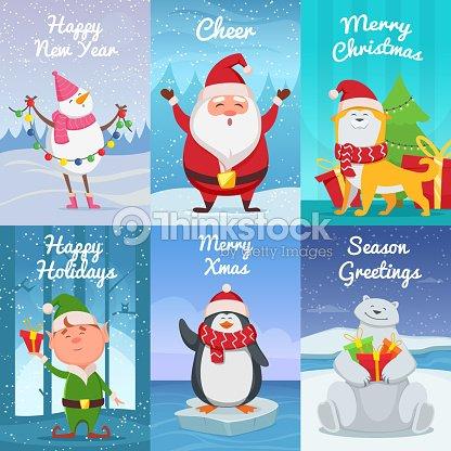 Carte De Noel Droles.Cartes De Noël Mignon Avec Drôles De Personnages Images