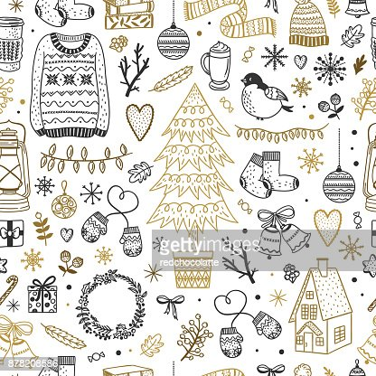 Cute Christmas pattern. Seamless background with winter elements, New Year and Christmas doodles : Arte vettoriale