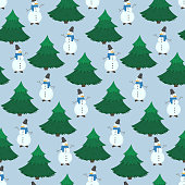 Cute Christmas seamless pattern with cheerful Snowmen and green fir trees on blue background. Winter holiday illustration for New Year textile, wrapping paper, surface, wallpaper