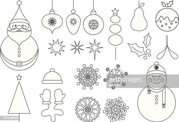 Cute Christmas Vector Icon Set