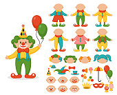 Cute clown character creator set. Design your own clown with different body, head, hair and face. Vector illustration