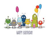 Cute monsters greeteng card. Funny colorful monsters happy birthday card. Vector eps10