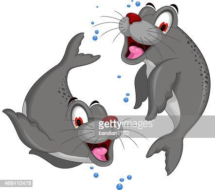 Seal Dessin Anime Mignon Couple Clipart Vectoriel Thinkstock