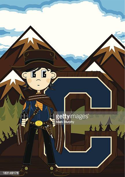 Cute Cowboy Learning Letter C