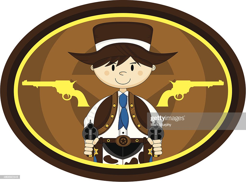 Cute Cowboy with Guns : Vector Art