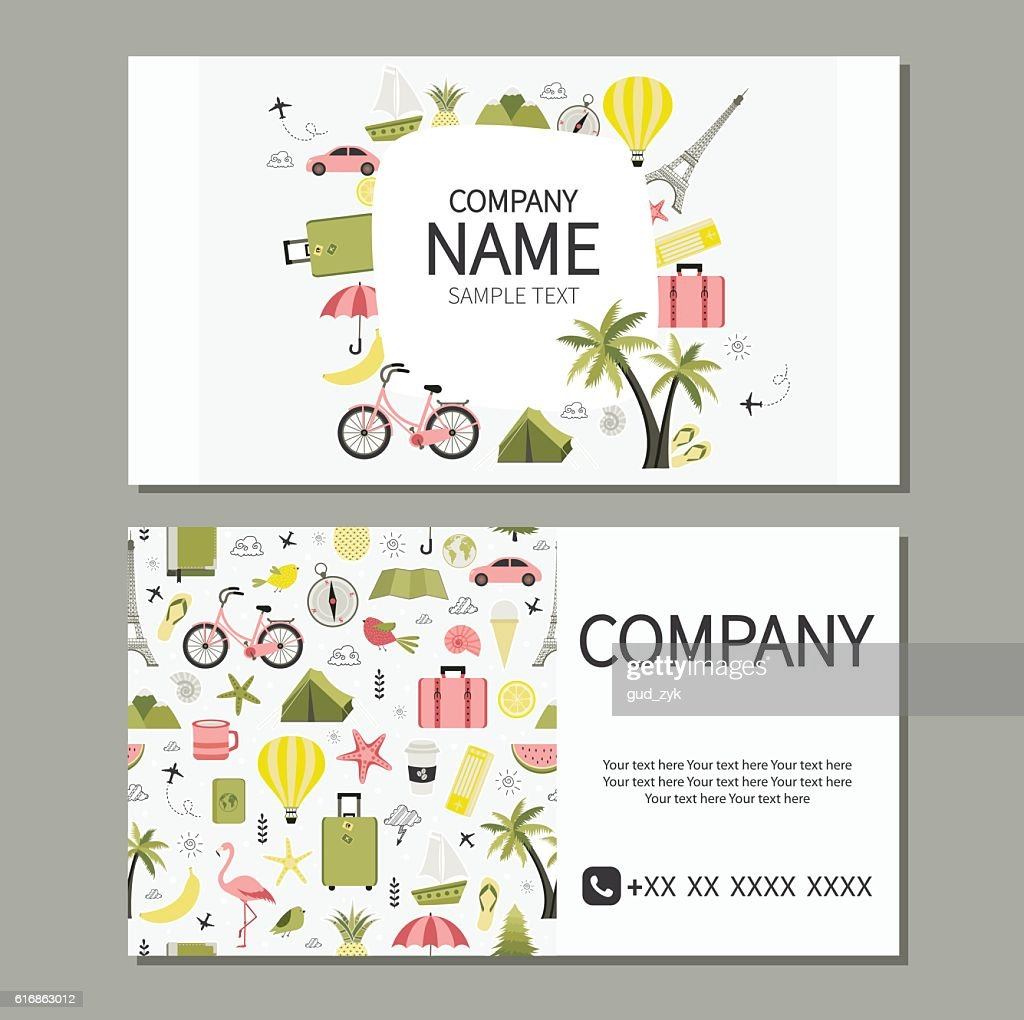 Cute design of business cards for travel agency. : Vector Art