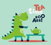 Cute dinosaur drinking tea on the table. Tea time vector concept