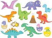 Vector illustration of dinosaurs including Stegosaurus, Brontosaurus, Velociraptor, Triceratops, Tyrannosaurus rex, Spinosaurus, and Pterosaurs.