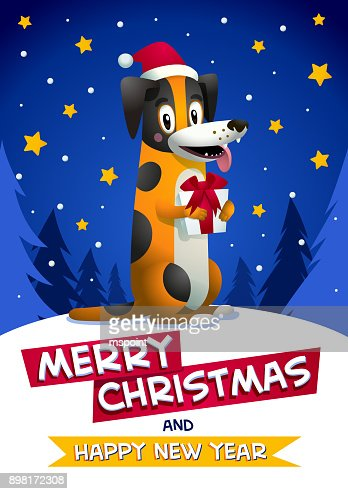 Cute Dog With Merry Christmas And Happy New Year Inscription Stylish